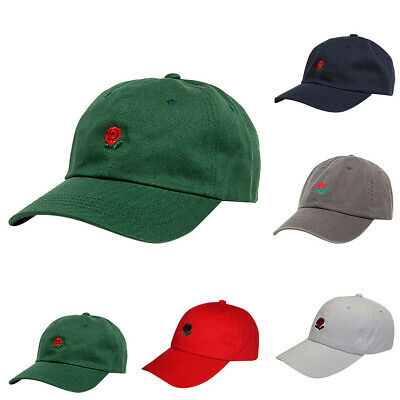 Unisex Rose Embroidered Dad Hat Cute Adjustable Cotton Floral Baseball Cap FAS