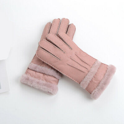New Women Winter Sheepskin Gloves  Warm Genuine Leather and Fur Lady Mittens