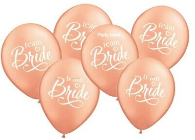 6 x Rose Gold White Engagement Hen Party Team Bride Helium Balloons Decoration
