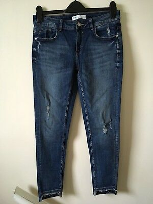 Zara Denim Jeans 38 10 Skinny Ankle Length Disressed NEW