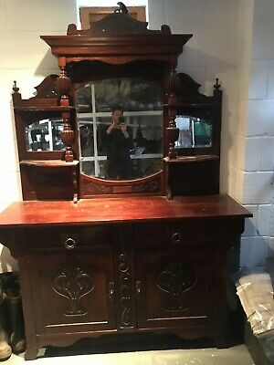 VICTORIAN MIRROR BACK SIDEBOARD, think Teak, good condition but used