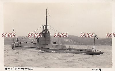 "Royal Navy Real Photo. HMS ""Swordfish"" Submarine. Sunk by mine. Rare! July 1937"