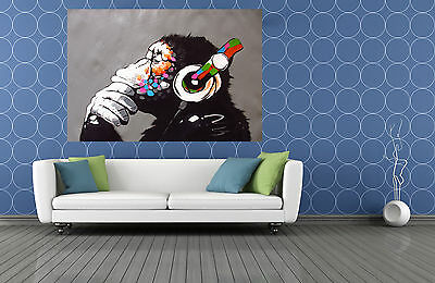 Canvas Banksy Street Art Print DJ Monkey chimp Painting Huge  wall decor
