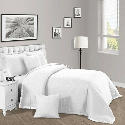 White 3 Piece Bedding Set Quilted Bedspread Luxury Bed Throw With Pillow Cases