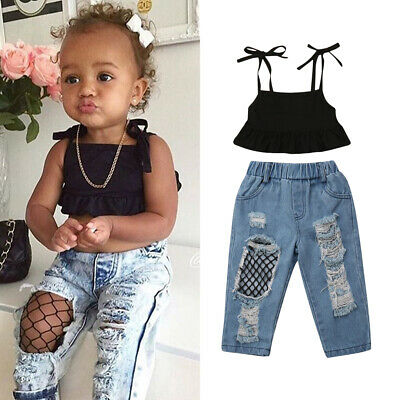 UK Toddler Kids Baby Girls Vest Tops+Ripped Fish Net Jeans Pants Outfits Clothes