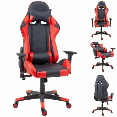 Gaming Racing Chair Office Executive Recliner Adjustable Fx Leather Swivel Red