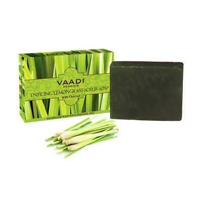 100% Organic Vaadi Herbals Enticing Lemongrass Scrub Soap with Charcoal 75g