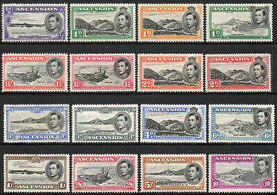 Ascension 1938 KGVI set of mint stamps value to 10 Shillings Mint Hinged