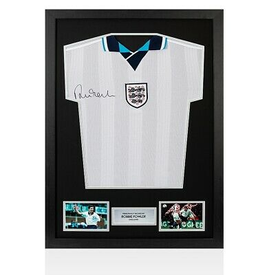Framed Robbie Fowler Signed England Shirt Euro 1996 - Front Signed Autograph