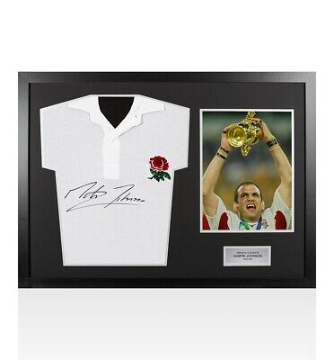 Framed Martin Johnson Signed England Rugby Shirt Retro - Panoramic Autograph