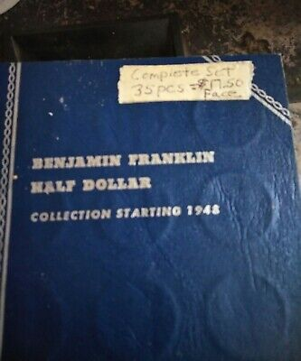 1948 - 1963 PDS Benjamin Franklin Silver Half Dollar 35 Coin Complete Collection