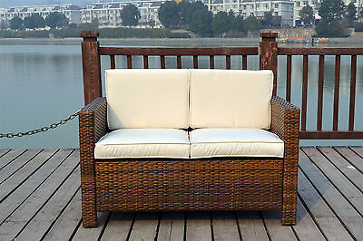 Twin Garden Rattan Wicker Outdoor Conservatory Furniture Set Table Chairs Brown