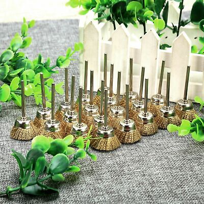20pcs Brass Wire Cup Shape Brushes 25mm Cleaner Polishing Remove RustRotary Tool