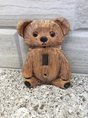 "Vintage Brown Teddy Bear Composite Wall Light Switch Cover 5 "" by 3 1/4 """