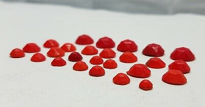 Vintage Antique Glass Gems Stone Jewelry Craft Faceted Crystals Red Gemstone Lot
