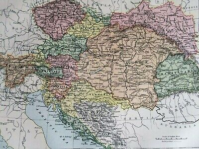 1875 Austria-Hungary Framed Original Antique Map Austro-Hungarian Empire