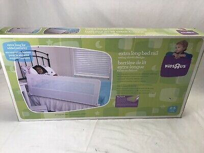Kids R Us Extra Long Safety Bed Rail Toddler Kids Swing Down 56 Inch Long White