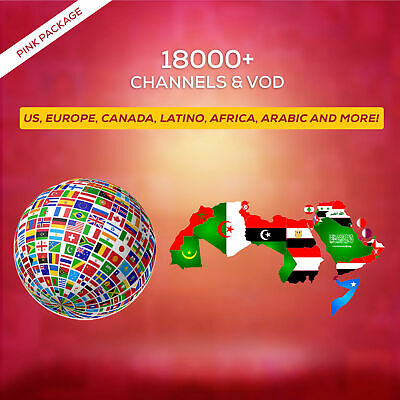 1 Year IPTV SUBSCRIPTION +18000 Ch&VOD US, CA, EUROPE, LATINO, AFRICA, ARABIC