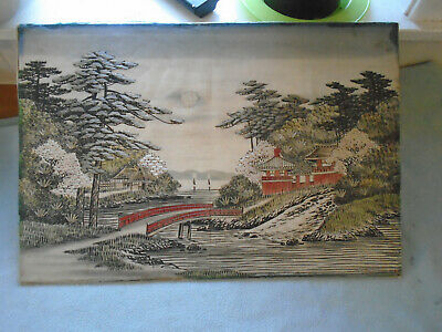 Beautiful Framed Fine  Japanese  Floral  Silk Embroidery Pagoda And Bridge Scene