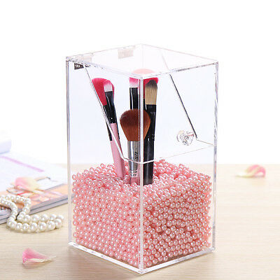 Acrylic Dustproof Organizer Makeup Cosmetic Storage Case Brush Holder Pearl Box/