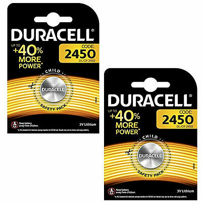 2 x Duracell CR2450 3V Lithium Coin Cell Battery 2450 DL2450 K2450L, 2027 exp.