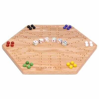 """Solid Oak Double-sided Aggravation (Wahoo) Board Game Set, 16"""" Wide"""