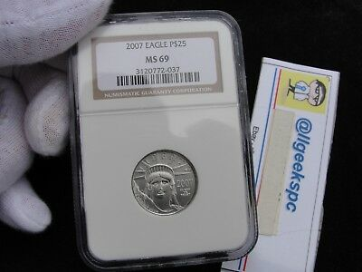 2007 NGC MS 69 Platinum Eagle 1/4 OZ Ounce .9995 $25 Platinum Coin $425 Value