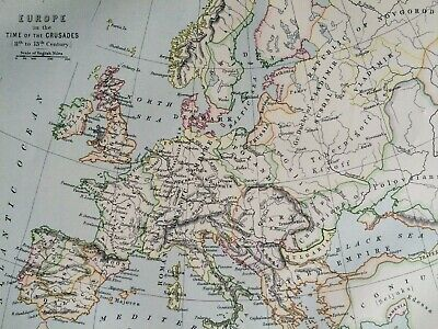1875 Europe in the time of Crusades Framed Original Antique Map History