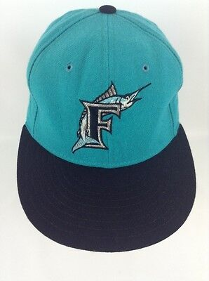8669a48c99bf77 Florida Marlins Fitted Youth Size 7 1/8 MLB Cap Teal Baseball Hat Wool New