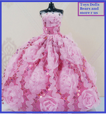 New Barbie Doll Clothes Pink Gown Princess Dress Wedding Sequins and Flowers