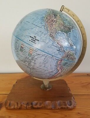 "VTG World Book Table Top Globe by Replogle 12"" Dia. Textured Surface Wood Base"
