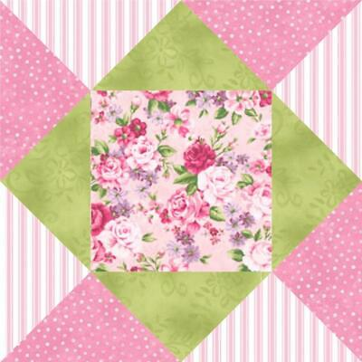 Sweet Jane Pink Green Rose Shabby Stripe Floral Pre-cut Quilt Kit Block Fabric
