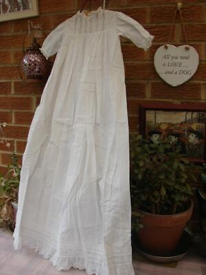 Antique,Vintage Long Baby Gown,Dress~White Cotton~Pin Tucks~Valencienne Lace