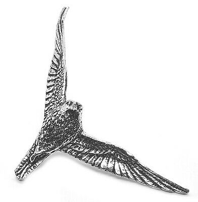 Hunting Swooping Falcon Pin Badge (English Silver Pewter Brooch in gift pouch)