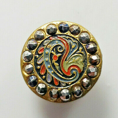 AWESOMEAntique Vtg Metal Picture BUTTON Multi Color Paisly CutSteel Ring L@@K#5