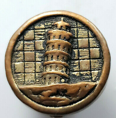 Stellar Antique~ Vtg Glass Picture BUTTON Leaning Tower of Pisa  L@@K# 222