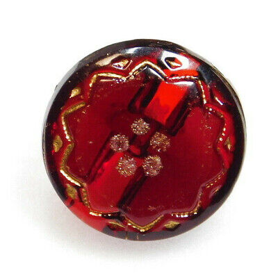 WOW Antique Vtg Victorian Ruby Red GLASS BUTTON Gold Incised Sun Flower L@@K#156
