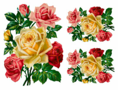 Vintage Image Shabby Pink Yellow Roses Flowers Bouquets Waterslide Decals FL487