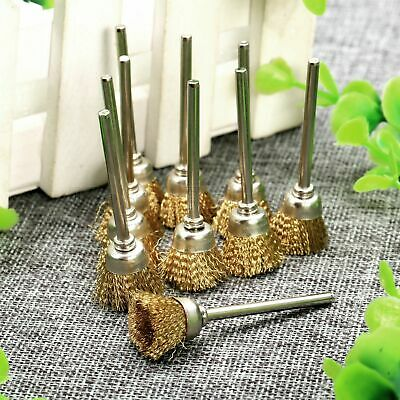 20pcs Bowl Shape Brass Wire Brushes 3mm Shank Polishing Wheel for Rotary Tools
