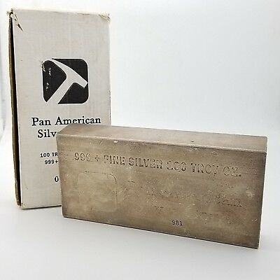 Pan American Silver Corp 100 Troy Ounce Oz Pure .999 Fine Silver Bar w/ Orig Box
