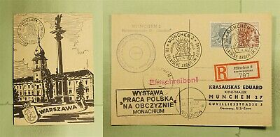 DR WHO 1947 GERMANY MUNICH SPECIAL CANCEL REGISTERED WARSAW POLAND PC  d93768