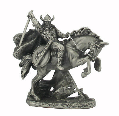 Dal Rossi Veronese Viking on rearing Horse All Pewter Figurine