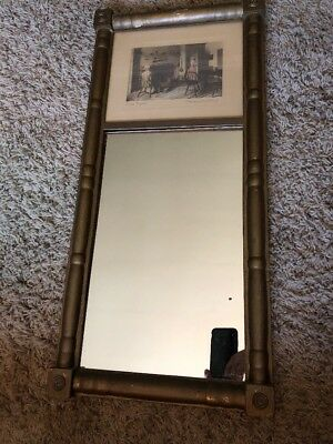 Wallace Nutting  hand colored photo Good Night! In Mirror Antique Riffle Gun