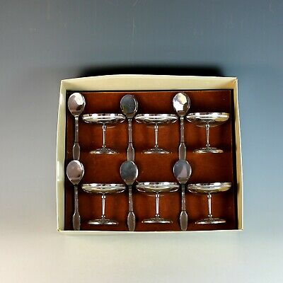 Mid-Century Modern Set of French SS Ice Cream Coupes and Spoons Boxed