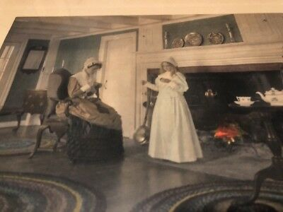 Rare Child Wallace Nutting  hand colored photo Large Helping Mother Antique