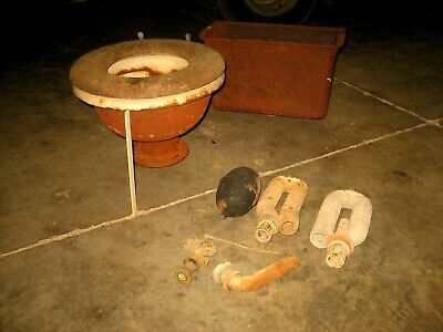 Rare Antique Cast Iron Toilet and Hanging Tank w/Wood Seat & Hardware