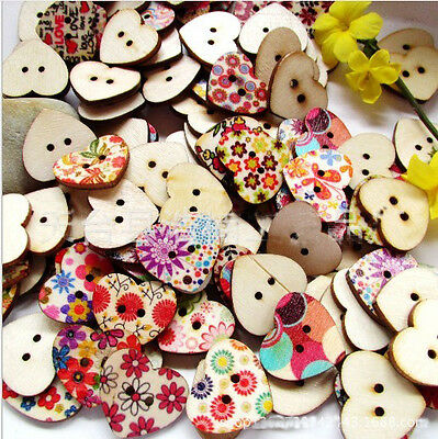 Scrapbooking Buttons 2 Holes 18mm 100Pcs DIY Colorful Heart Shaped Wood Sewing