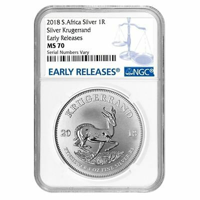 2018 South Africa Silver Krugerrand 1oz NGC MS70 Early Releases
