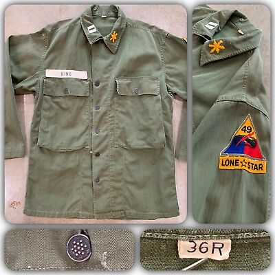 50s HBT 13 STAR Button Shirt Jacket US Army 49th Armored Division Patch Tunic 36