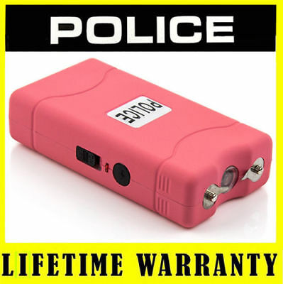 POLICE Mini Pink Stun Gun 800 50 BV Rechargeable LED Flashlight + Taser Case